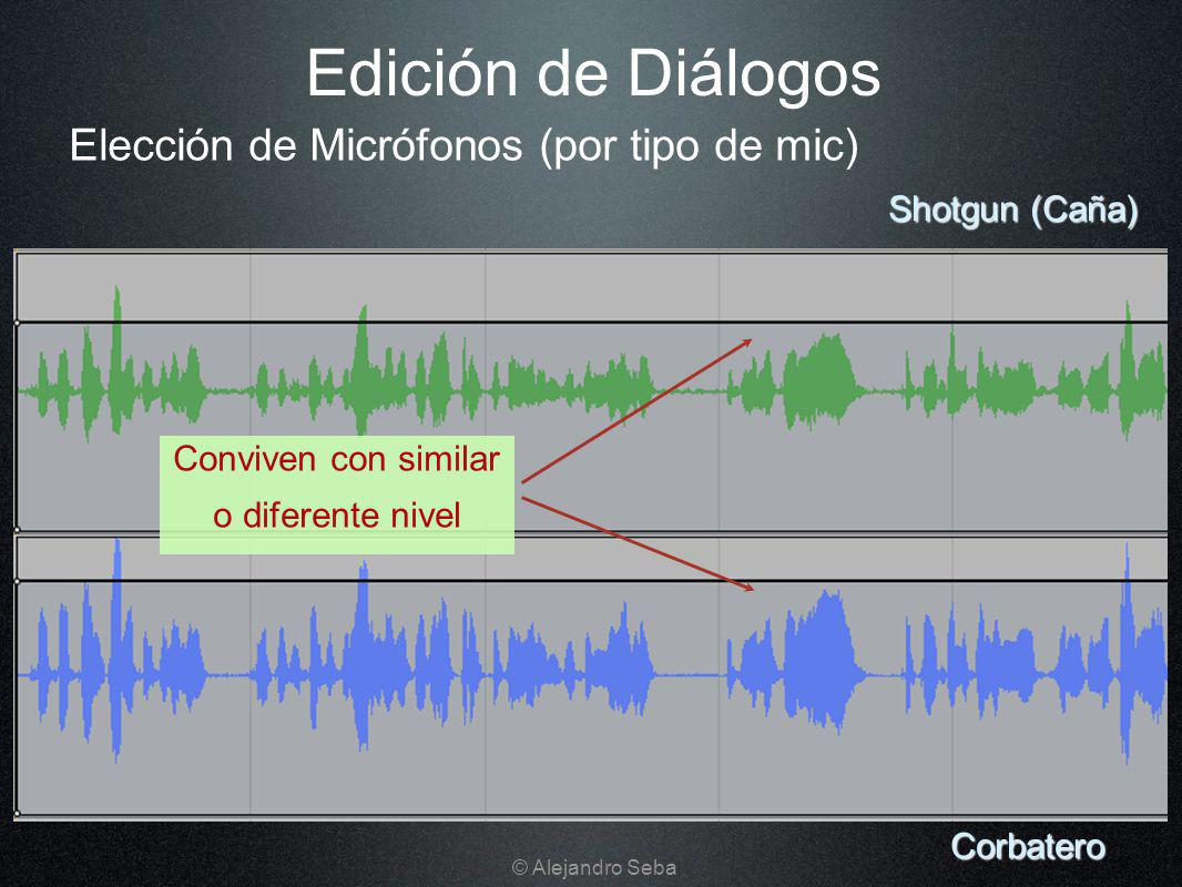 Edición de Diálogos Corbatero Shotgun (Caña) Conviven con similar o diferente nivel Elección de Micrófonos (por tipo de mic) © Alejandro Seba
