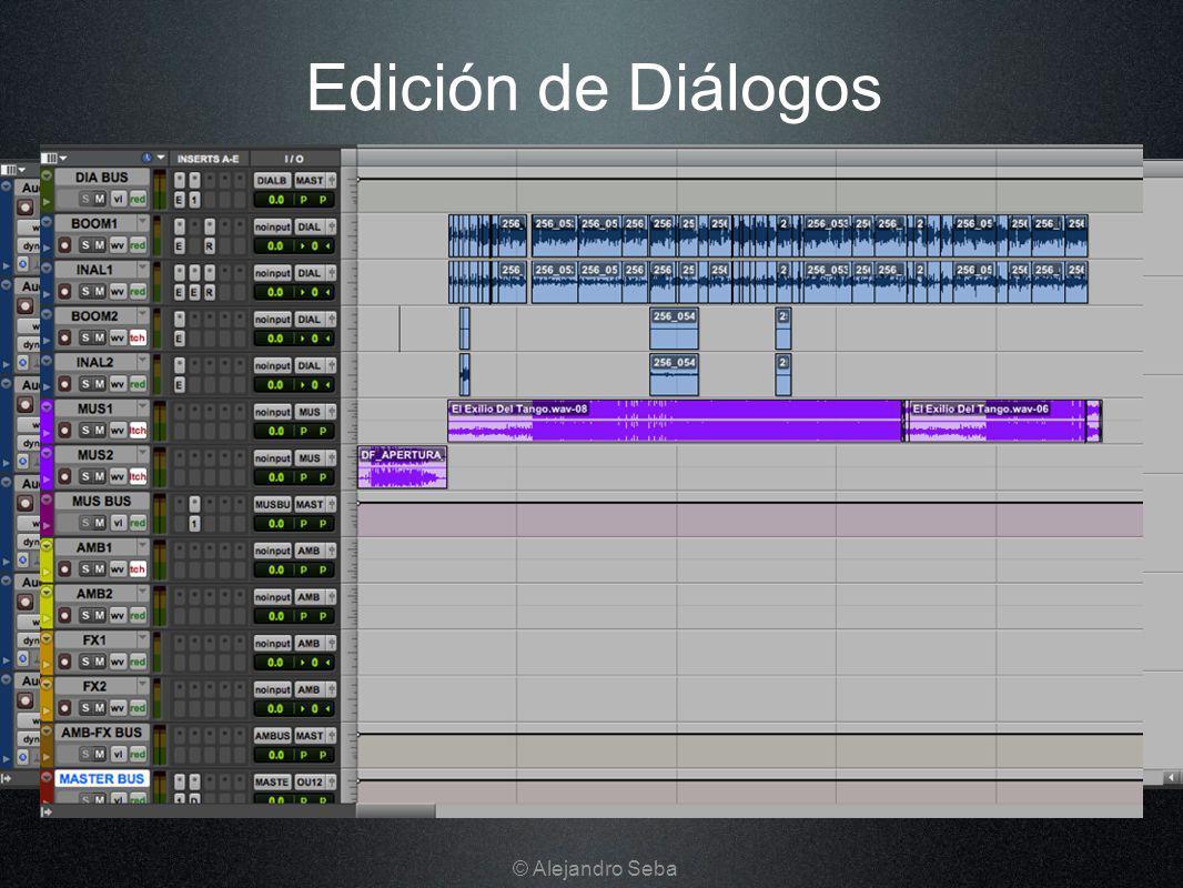 Edición de Diálogos Organizar la sesión (redistribuir los archivos recibidos en el OMF): clasificar pistas (Caña, Corbateros, Voz Over, Teléfonos o TV