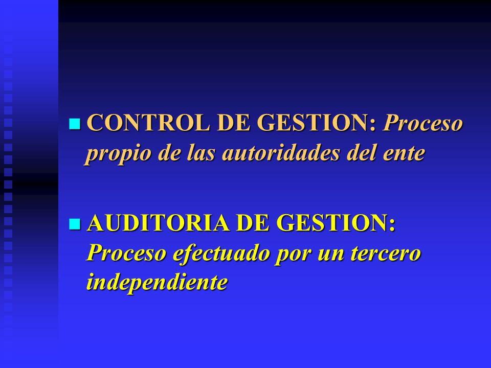 CONTROL DE GESTION: Proceso propio de las autoridades del ente CONTROL DE GESTION: Proceso propio de las autoridades del ente AUDITORIA DE GESTION: Pr