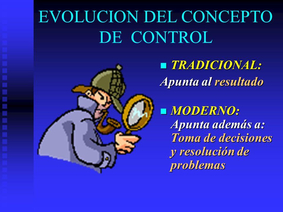 EVOLUCION DEL CONCEPTO DE CONTROL TRADICIONAL: Apunta al resultado MODERNO: Apunta además a: Toma de decisiones y resolución de problemas