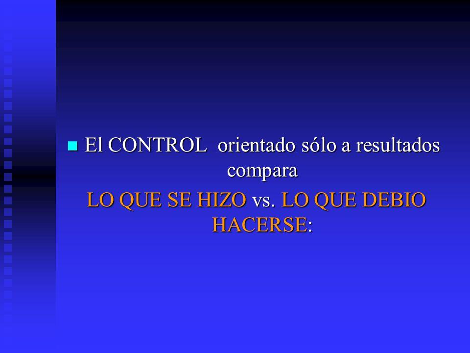 El CONTROL orientado sólo a resultados compara El CONTROL orientado sólo a resultados compara LO QUE SE HIZO vs. LO QUE DEBIO HACERSE: LO QUE SE HIZO