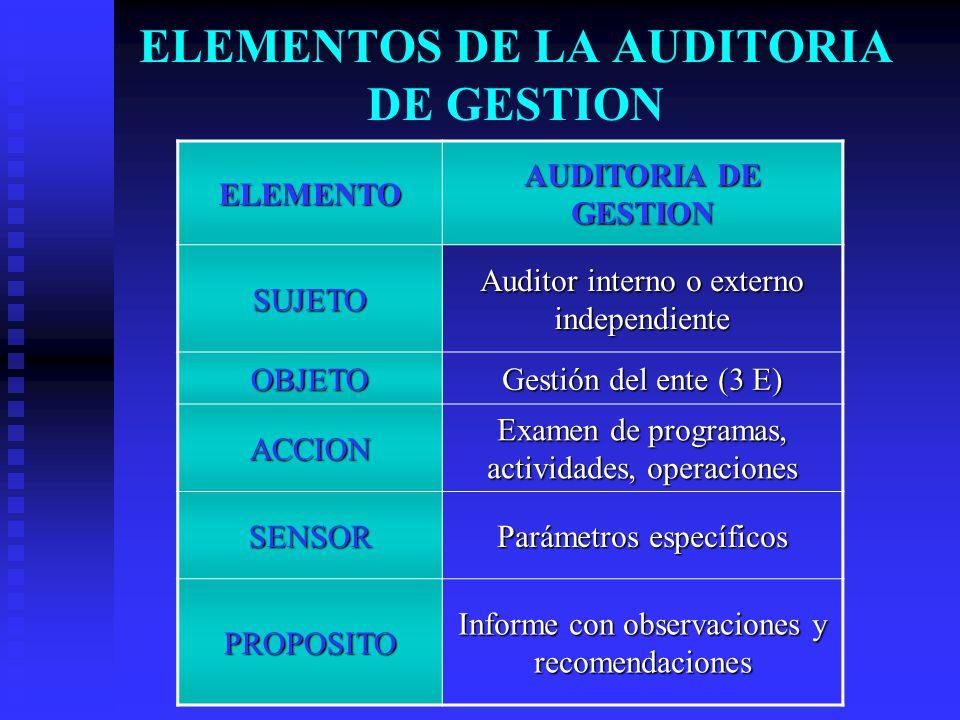 ELEMENTOS DE LA AUDITORIA DE GESTION ELEMENTO AUDITORIA DE GESTION SUJETO Auditor interno o externo independiente OBJETO Gestión del ente (3 E) ACCION