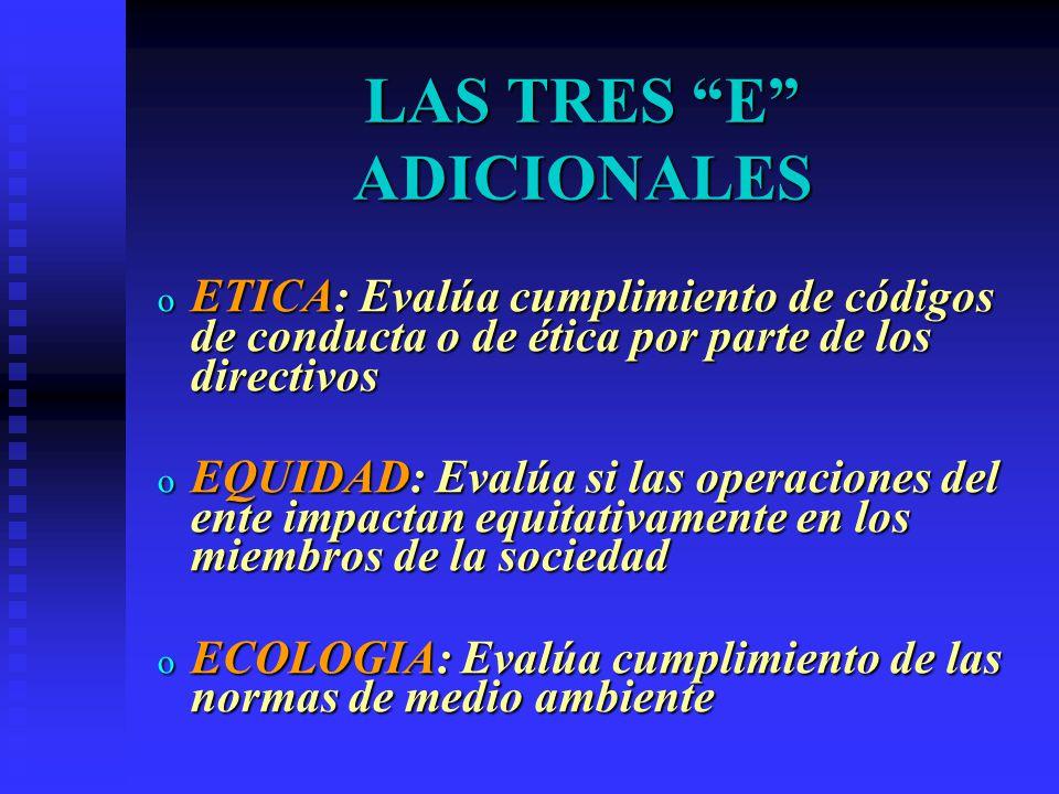 LAS TRES E ADICIONALES o ETICA: Evalúa cumplimiento de códigos de conducta o de ética por parte de los directivos o EQUIDAD: Evalúa si las operaciones