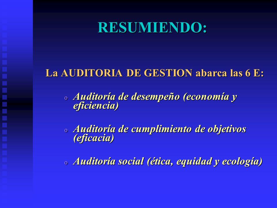 RESUMIENDO: La AUDITORIA DE GESTION abarca las 6 E: o Auditoría de desempeño (economía y eficiencia) o Auditoría de cumplimiento de objetivos (eficaci