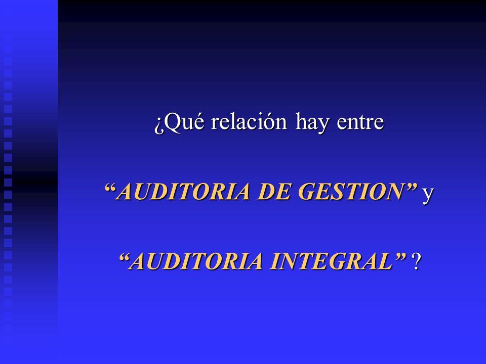 ¿Qué relación hay entre AUDITORIA DE GESTION yAUDITORIA DE GESTION y AUDITORIA INTEGRAL ?