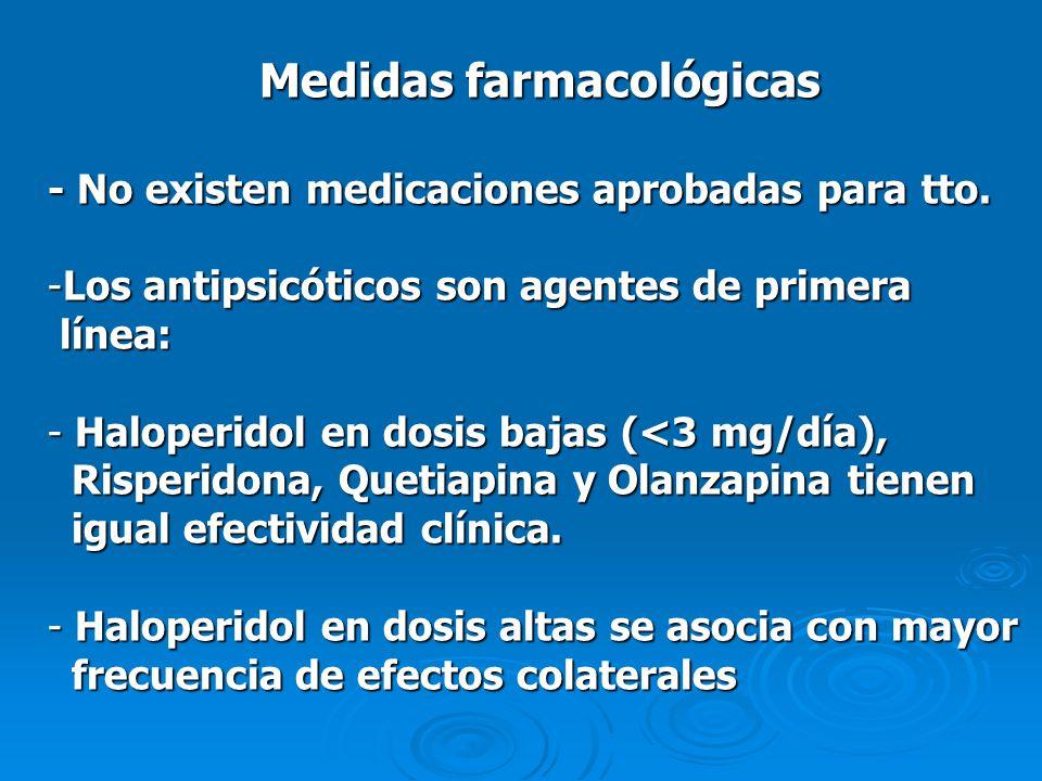 Medidas farmacológicas - No existen medicaciones aprobadas para tto. -Los antipsicóticos son agentes de primera línea: línea: - Haloperidol en dosis b