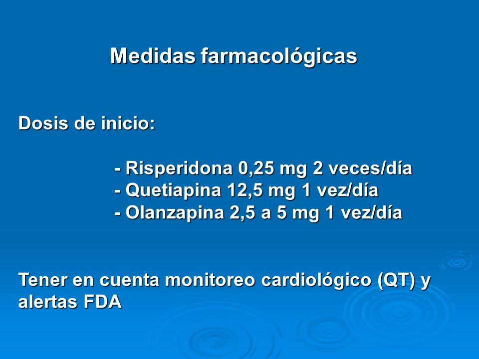 Medidas farmacológicas Dosis de inicio: - Risperidona 0,25 mg 2 veces/día - Quetiapina 12,5 mg 1 vez/día - Olanzapina 2,5 a 5 mg 1 vez/día Tener en cu