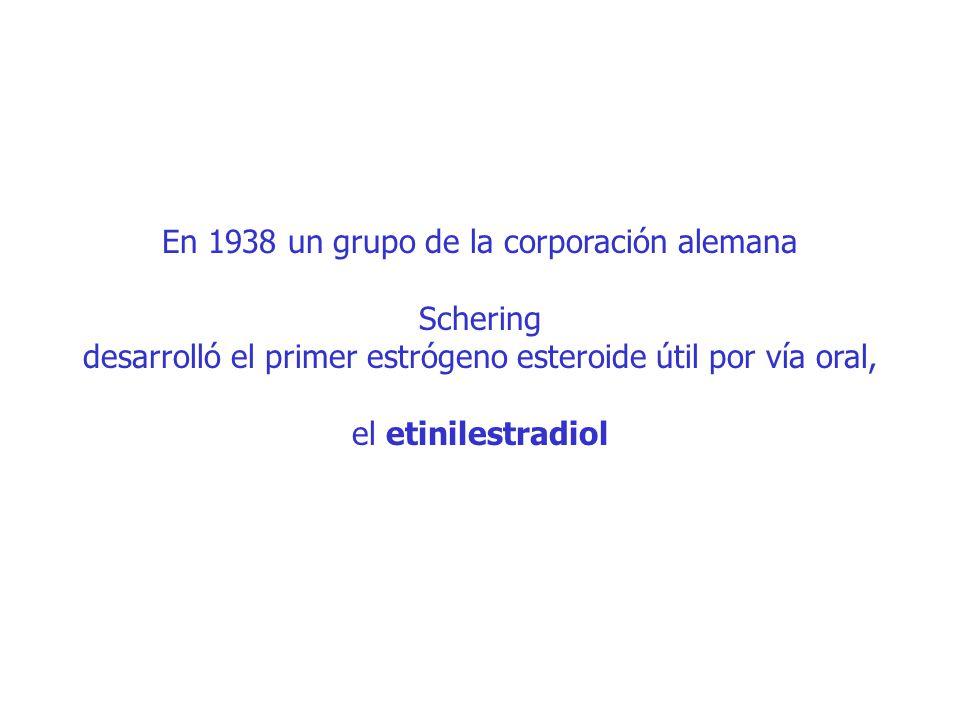 En 1938 un grupo de la corporación alemana Schering desarrolló el primer estrógeno esteroide útil por vía oral, el etinilestradiol