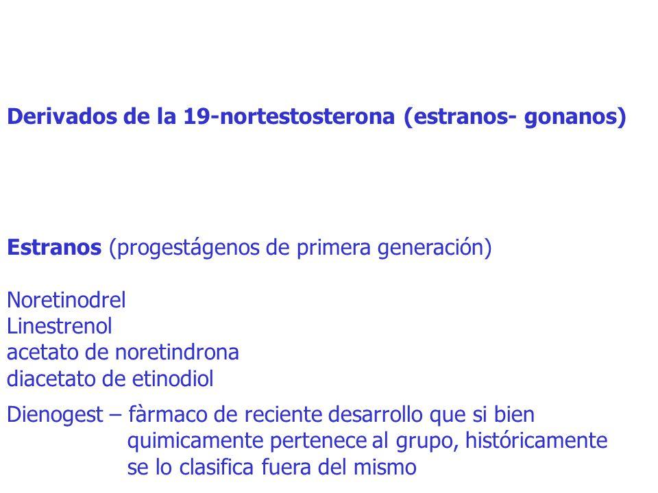 Derivados de la 19-nortestosterona (estranos- gonanos) Estranos (progestágenos de primera generación) Noretinodrel Linestrenol acetato de noretindrona diacetato de etinodiol Dienogest – fàrmaco de reciente desarrollo que si bien quimicamente pertenece al grupo, históricamente se lo clasifica fuera del mismo