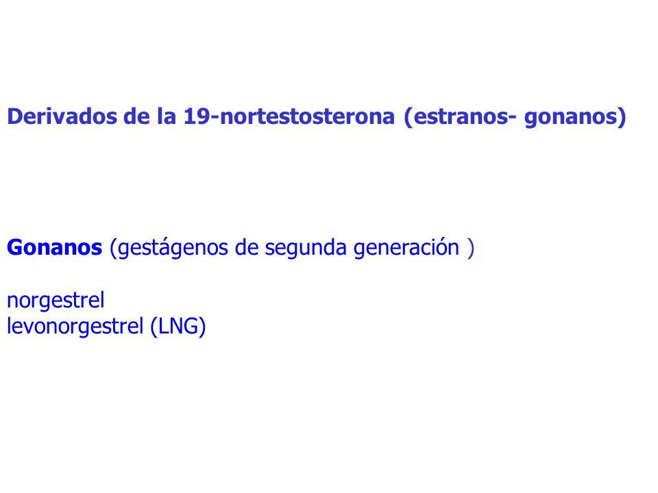 Derivados de la 19-nortestosterona (estranos- gonanos) Gonanos (gestágenos de segunda generación ) norgestrel levonorgestrel (LNG)