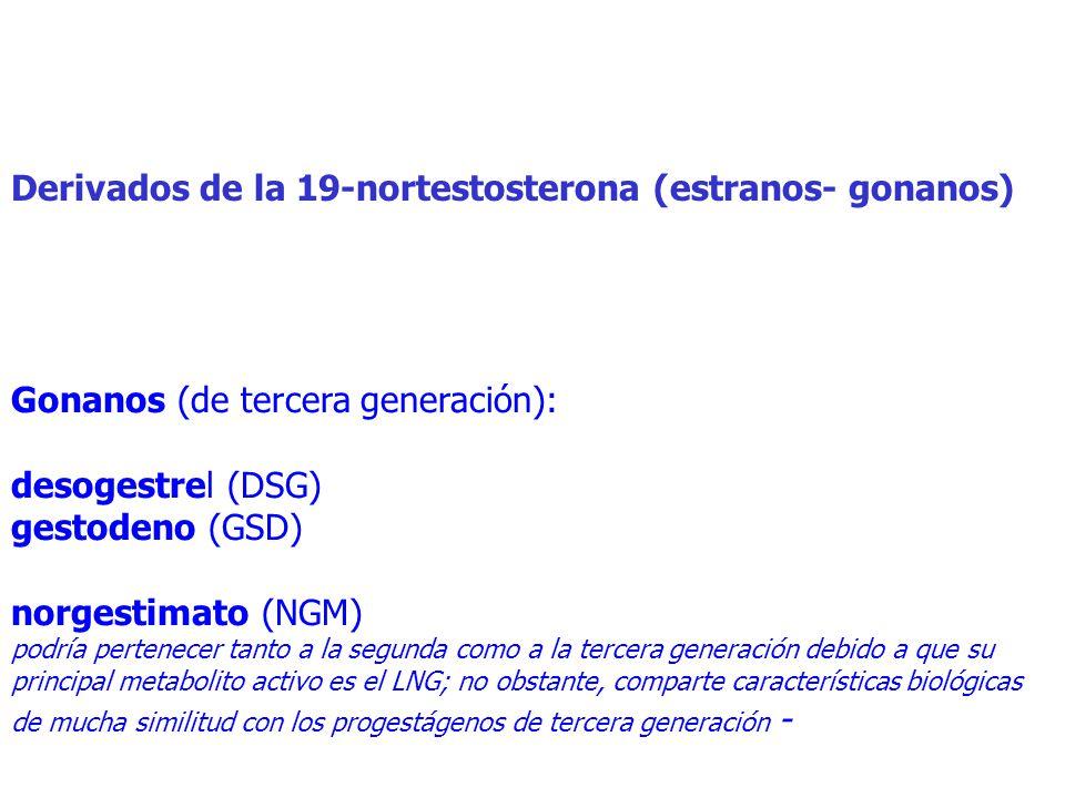 Derivados de la 19-nortestosterona (estranos- gonanos) Gonanos (de tercera generación): desogestrel (DSG) gestodeno (GSD) norgestimato (NGM) podría pertenecer tanto a la segunda como a la tercera generación debido a que su principal metabolito activo es el LNG; no obstante, comparte características biológicas de mucha similitud con los progestágenos de tercera generación -