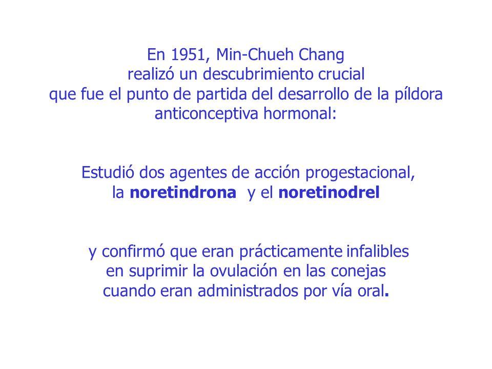 En 1951, Min-Chueh Chang realizó un descubrimiento crucial que fue el punto de partida del desarrollo de la píldora anticonceptiva hormonal: Estudió dos agentes de acción progestacional, la noretindrona y el noretinodrel y confirmó que eran prácticamente infalibles en suprimir la ovulación en las conejas cuando eran administrados por vía oral.