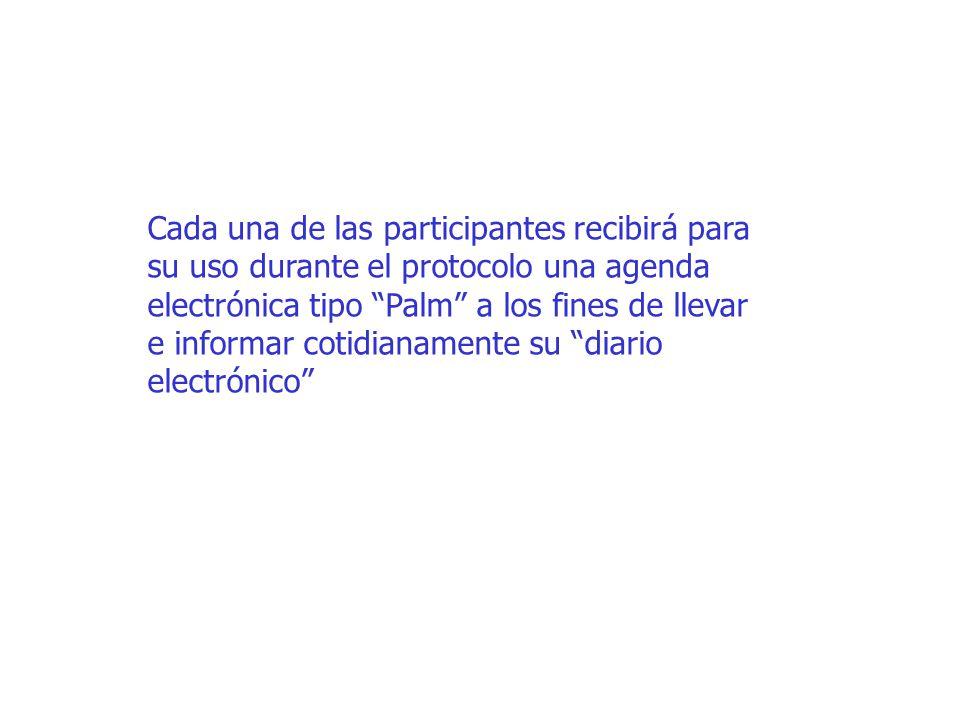 Cada una de las participantes recibirá para su uso durante el protocolo una agenda electrónica tipo Palm a los fines de llevar e informar cotidianamente su diario electrónico