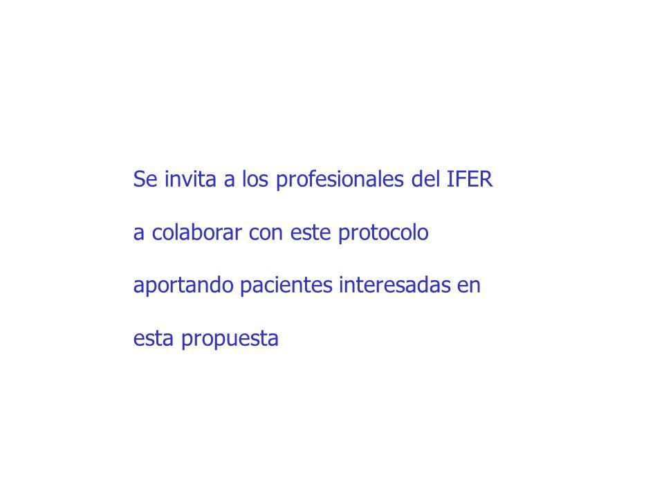 Se invita a los profesionales del IFER a colaborar con este protocolo aportando pacientes interesadas en esta propuesta