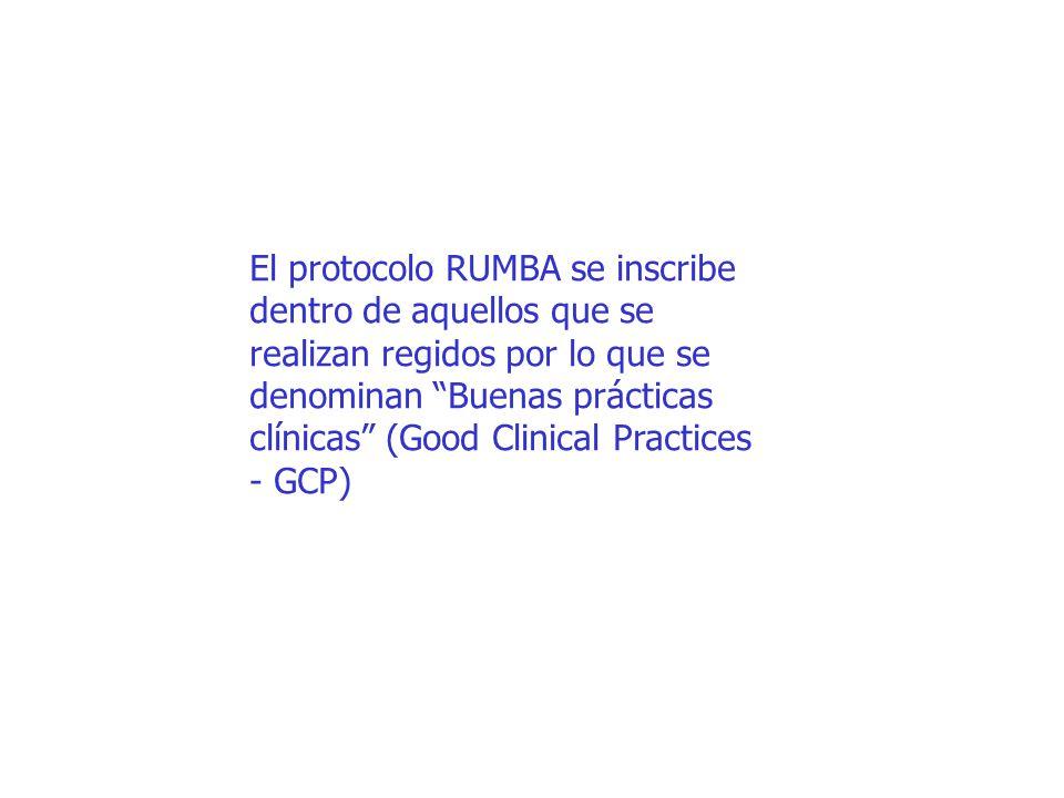 El protocolo RUMBA se inscribe dentro de aquellos que se realizan regidos por lo que se denominan Buenas prácticas clínicas (Good Clinical Practices - GCP)