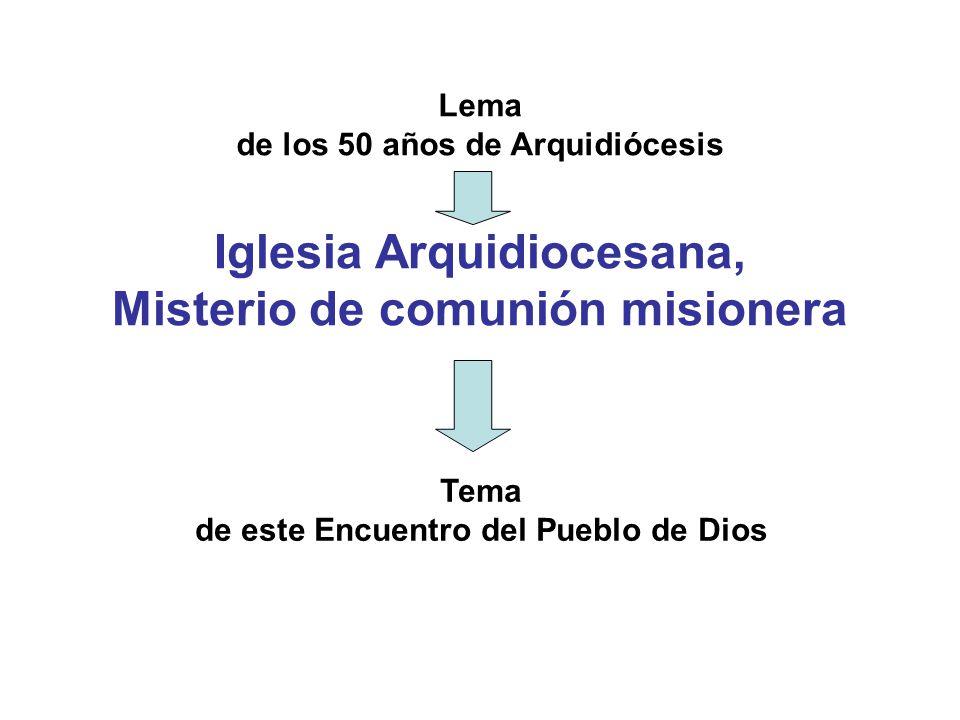 Iglesia Arquidiocesana, Misterio de comunión misionera Lema de los 50 años de Arquidiócesis Tema de este Encuentro del Pueblo de Dios