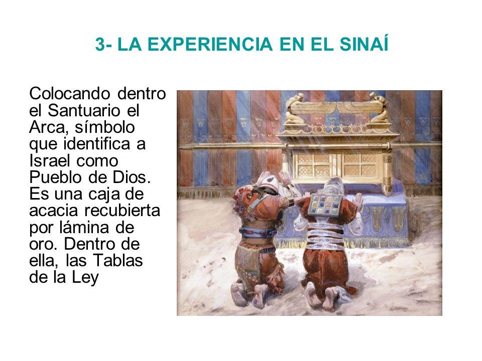 3- LA EXPERIENCIA EN EL SINAÍ Colocando dentro el Santuario el Arca, símbolo que identifica a Israel como Pueblo de Dios.