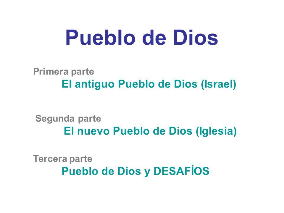 Pueblo de Dios Primera parte El antiguo Pueblo de Dios (Israel) Segunda parte El nuevo Pueblo de Dios (Iglesia) Tercera parte Pueblo de Dios y DESAFÍOS