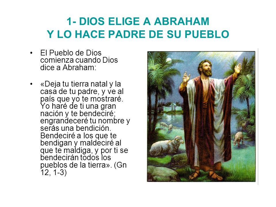 1- DIOS ELIGE A ABRAHAM Y LO HACE PADRE DE SU PUEBLO El Pueblo de Dios comienza cuando Dios dice a Abraham: «Deja tu tierra natal y la casa de tu padre, y ve al país que yo te mostraré.