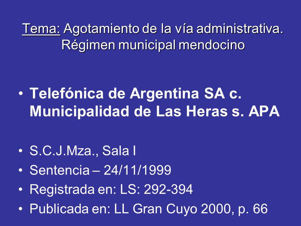 Tema: Agotamiento de la vía administrativa.