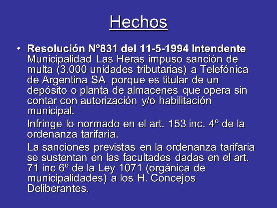 Hechos Resolución Nº831 del 11-5-1994 Intendente Municipalidad Las Heras impuso sanción de multa (3.000 unidades tributarias) a Telefónica de Argentina SA porque es titular de un depósito o planta de almacenes que opera sin contar con autorización y/o habilitación municipal.Resolución Nº831 del 11-5-1994 Intendente Municipalidad Las Heras impuso sanción de multa (3.000 unidades tributarias) a Telefónica de Argentina SA porque es titular de un depósito o planta de almacenes que opera sin contar con autorización y/o habilitación municipal.