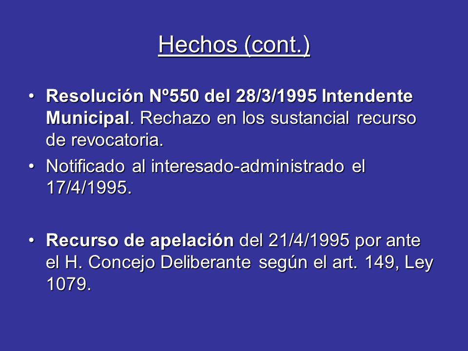 Hechos (cont.) Resolución Nº550 del 28/3/1995 Intendente Municipal.