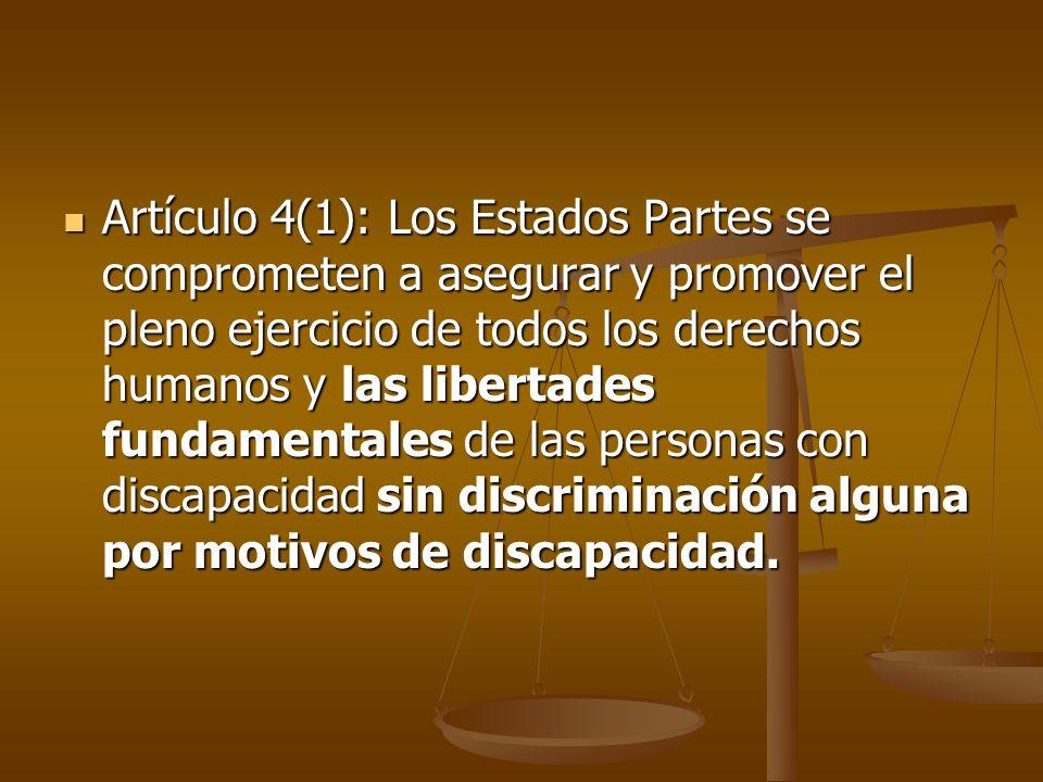 Artículo 4(1): Los Estados Partes se comprometen a asegurar y promover el pleno ejercicio de todos los derechos humanos y las libertades fundamentales
