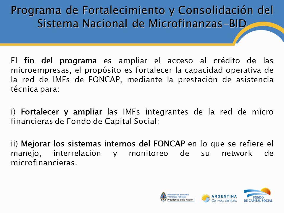 Programa de Fortalecimiento y Consolidación del Sistema Nacional de Microfinanzas-BID El fin del programa es ampliar el acceso al crédito de las microempresas, el propósito es fortalecer la capacidad operativa de la red de IMFs de FONCAP, mediante la prestación de asistencia técnica para: i) Fortalecer y ampliar las IMFs integrantes de la red de micro financieras de Fondo de Capital Social; ii) Mejorar los sistemas internos del FONCAP en lo que se refiere el manejo, interrelación y monitoreo de su network de microfinancieras.