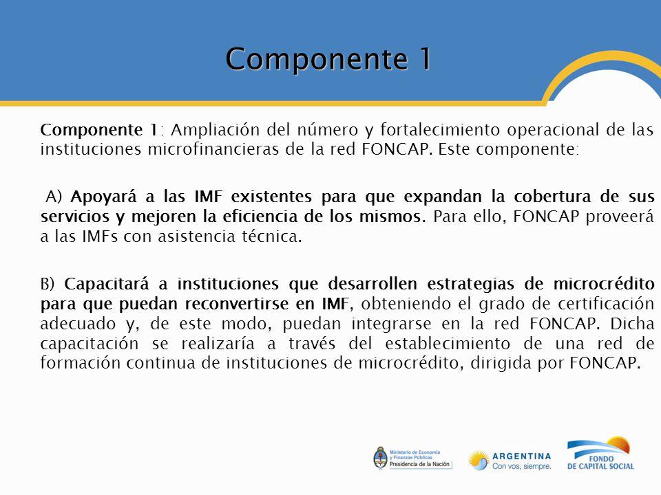 Componente 1 Componente 1: Ampliación del número y fortalecimiento operacional de las instituciones microfinancieras de la red FONCAP. Este componente