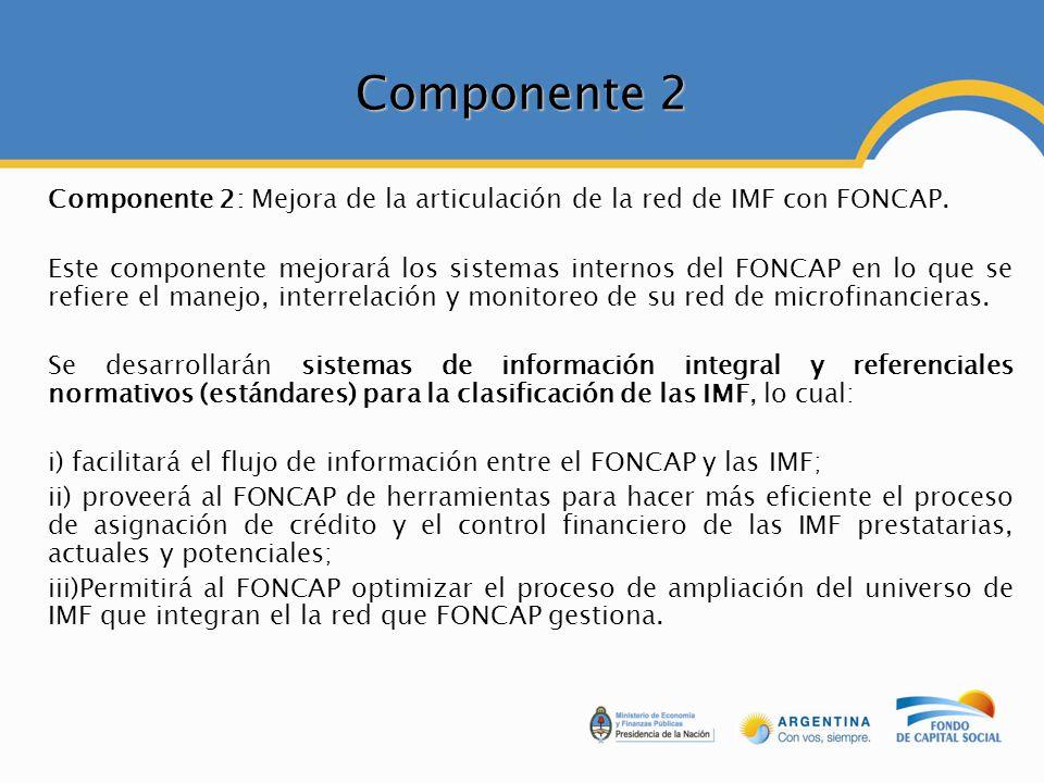 Componente 2 Componente 2: Mejora de la articulación de la red de IMF con FONCAP. Este componente mejorará los sistemas internos del FONCAP en lo que