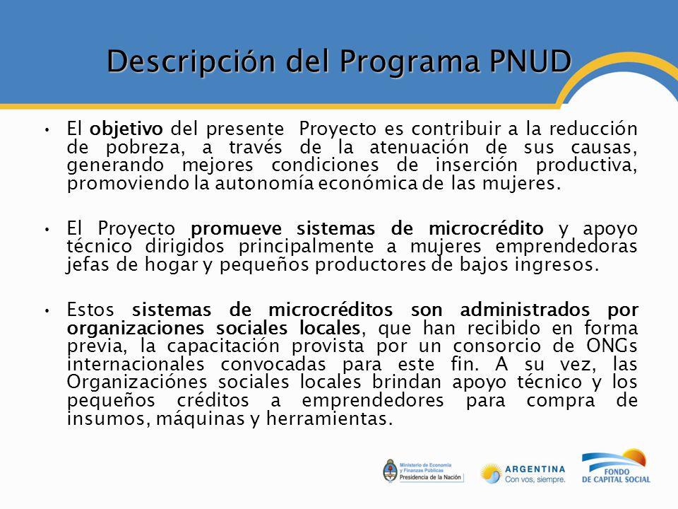 Descripci ó n del Programa PNUD El objetivo del presente Proyecto es contribuir a la reducción de pobreza, a través de la atenuación de sus causas, generando mejores condiciones de inserción productiva, promoviendo la autonomía económica de las mujeres.