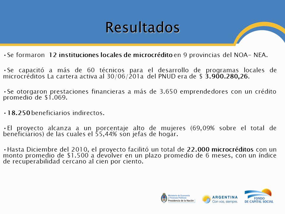 Resultados Se formaron 12 instituciones locales de microcrédito en 9 provincias del NOA- NEA. Se capacitó a más de 60 técnicos para el desarrollo de p