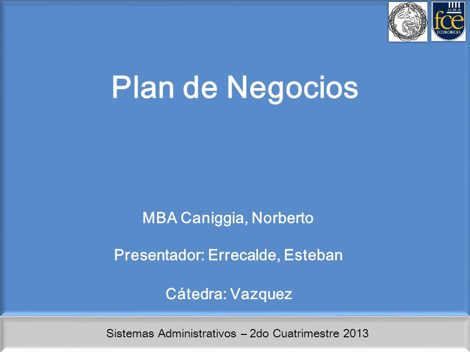 Sistemas Administrativos – 2do Cuatrimestre 2013 Plan de Negocios MBA Caniggia, Norberto Presentador: Errecalde, Esteban Cátedra: Vazquez