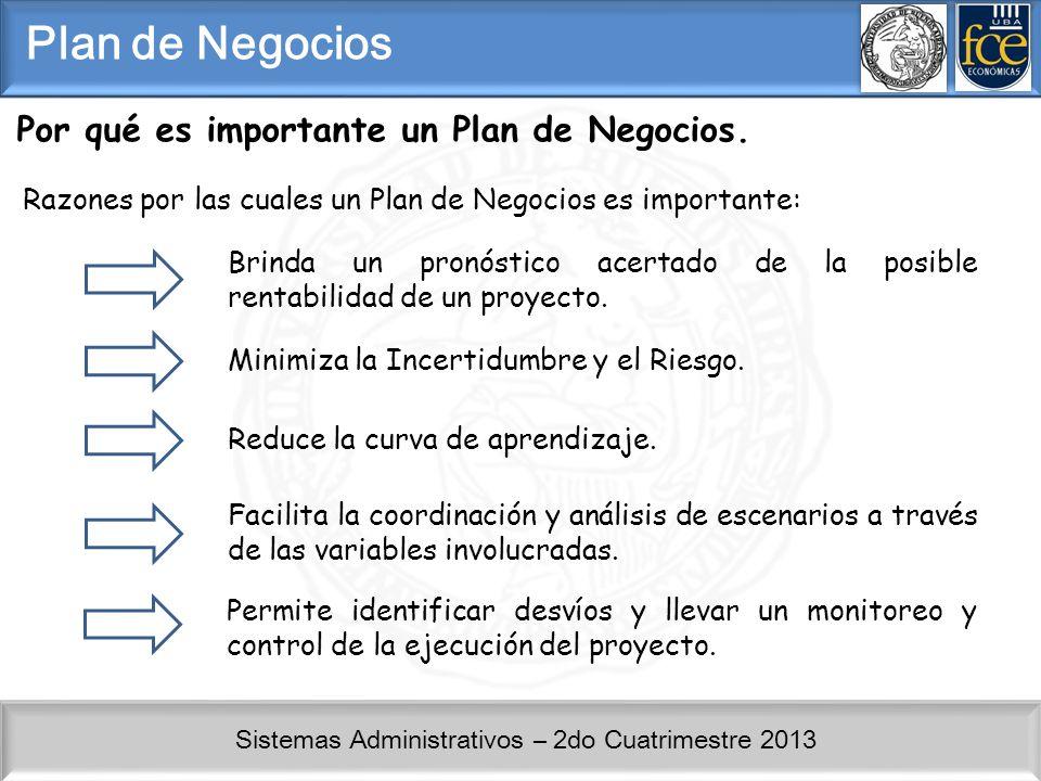 Sistemas Administrativos – 2do Cuatrimestre 2013 Por qué es importante un Plan de Negocios. Razones por las cuales un Plan de Negocios es importante: