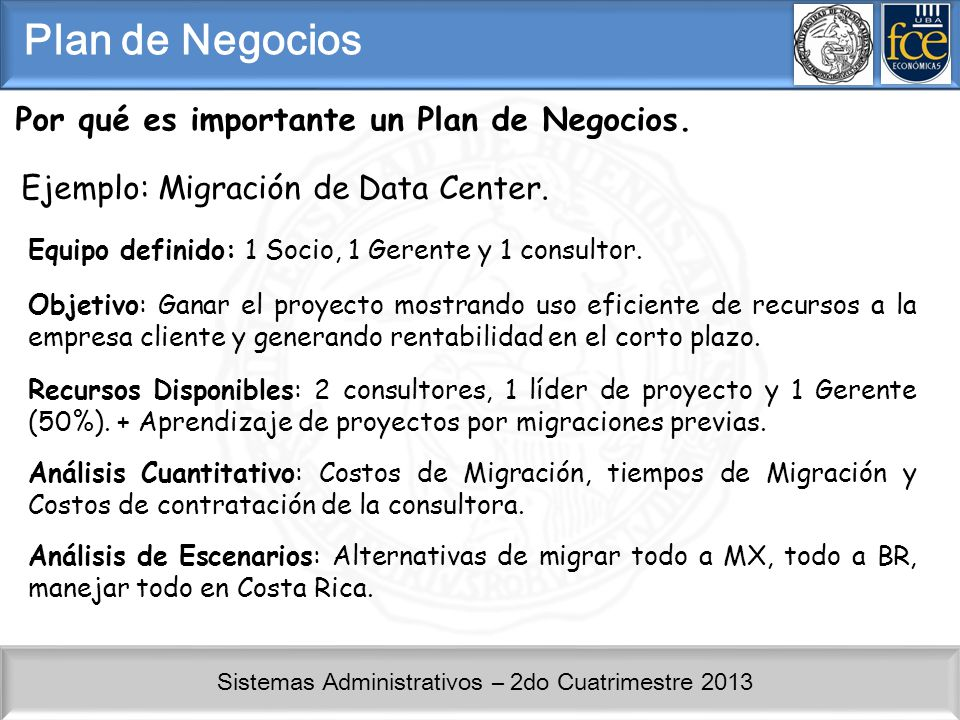 Sistemas Administrativos – 2do Cuatrimestre 2013 Por qué es importante un Plan de Negocios. Plan de Negocios Ejemplo: Migración de Data Center. Equipo