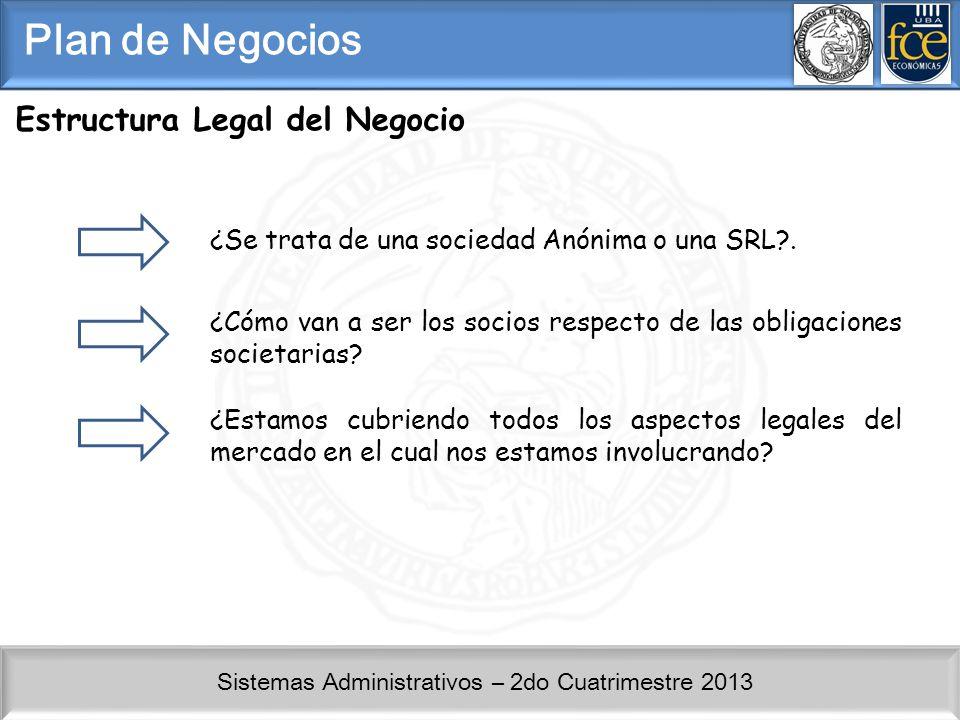 Sistemas Administrativos – 2do Cuatrimestre 2013 Plan de Negocios Estructura Legal del Negocio ¿Se trata de una sociedad Anónima o una SRL?. ¿Cómo van