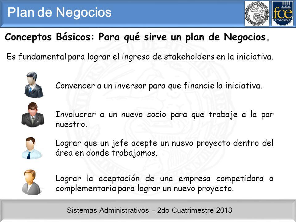 Sistemas Administrativos – 2do Cuatrimestre 2013 Conceptos Básicos: Para qué sirve un plan de Negocios. Es fundamental para lograr el ingreso de stake