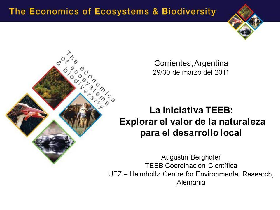 Corrientes, Argentina 29/30 de marzo del 2011 La Iniciativa TEEB: Explorar el valor de la naturaleza para el desarrollo local Augustin Berghöfer TEEB Coordinación Científica UFZ – Helmholtz Centre for Environmental Research, Alemania