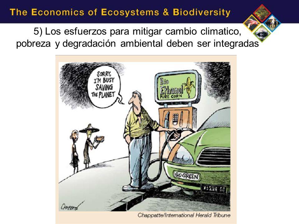 5) Los esfuerzos para mitigar cambio climatico, pobreza y degradación ambiental deben ser integradas