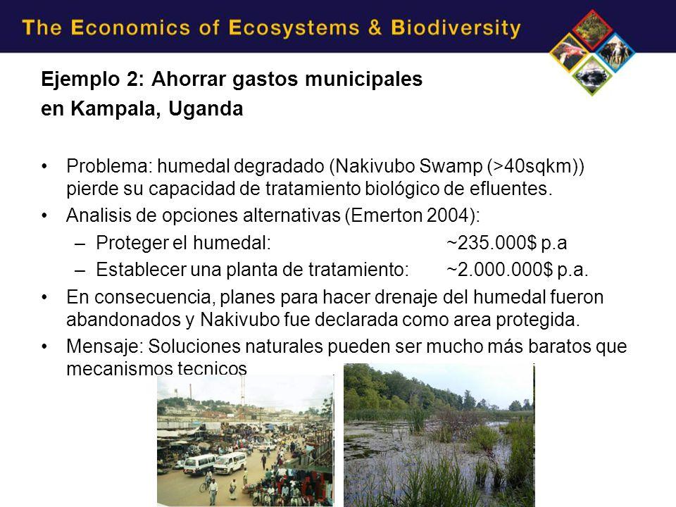Ejemplo 2: Ahorrar gastos municipales en Kampala, Uganda Problema: humedal degradado (Nakivubo Swamp (>40sqkm)) pierde su capacidad de tratamiento biológico de efluentes.