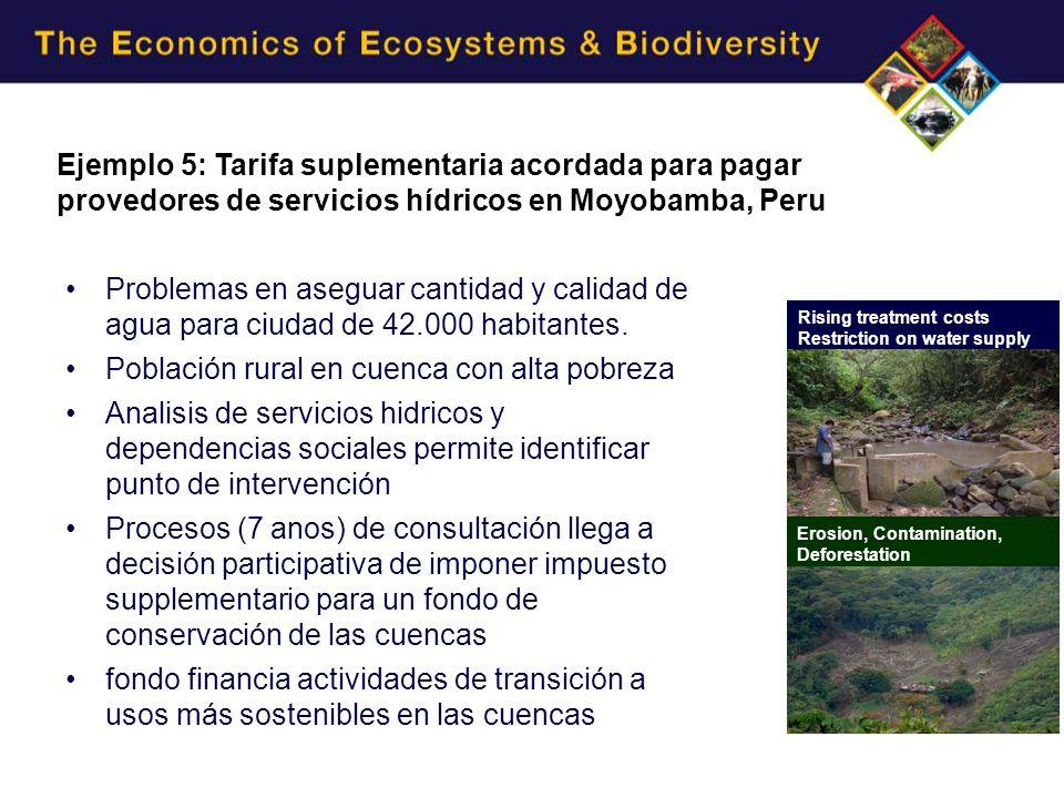 Ejemplo 5: Tarifa suplementaria acordada para pagar provedores de servicios hídricos en Moyobamba, Peru Rising treatment costs Restriction on water supply Erosion, Contamination, Deforestation Problemas en aseguar cantidad y calidad de agua para ciudad de 42.000 habitantes.