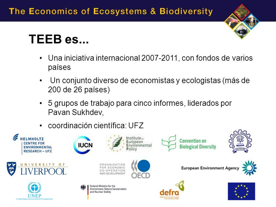 Una iniciativa internacional 2007-2011, con fondos de varios países Un conjunto diverso de economistas y ecologistas (más de 200 de 26 países) 5 grupos de trabajo para cinco informes, liderados por Pavan Sukhdev, coordinación científica: UFZ TEEB es...