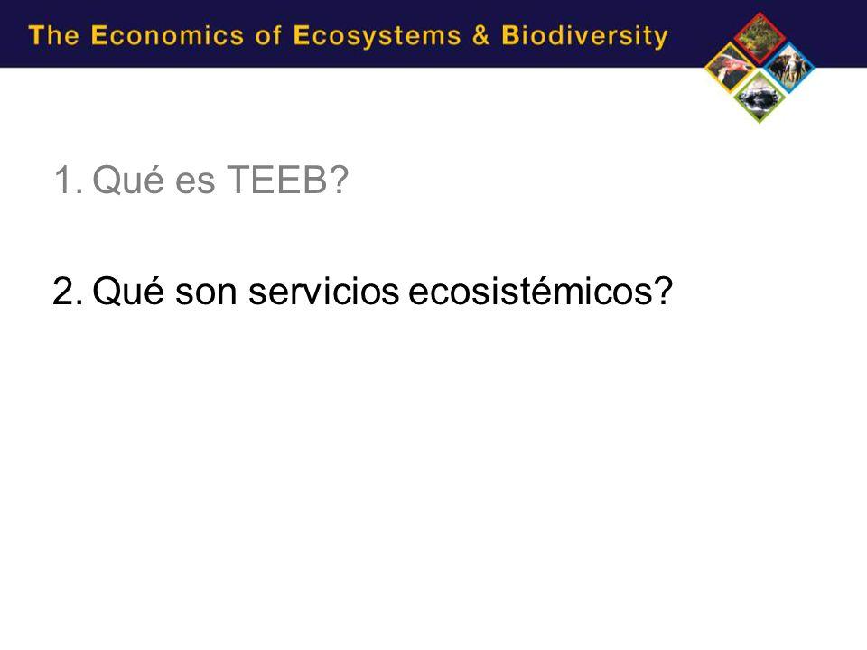 1.Qué es TEEB? 2.Qué son servicios ecosistémicos?