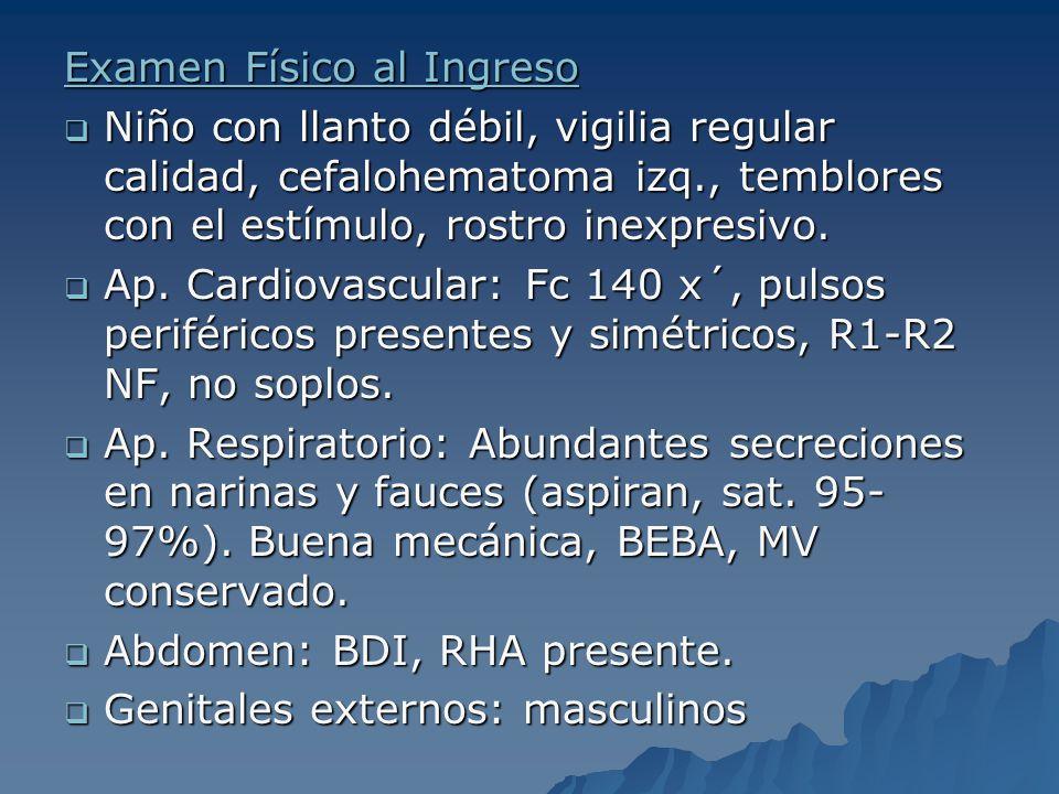 Examen Físico al Ingreso Niño con llanto débil, vigilia regular calidad, cefalohematoma izq., temblores con el estímulo, rostro inexpresivo. Niño con