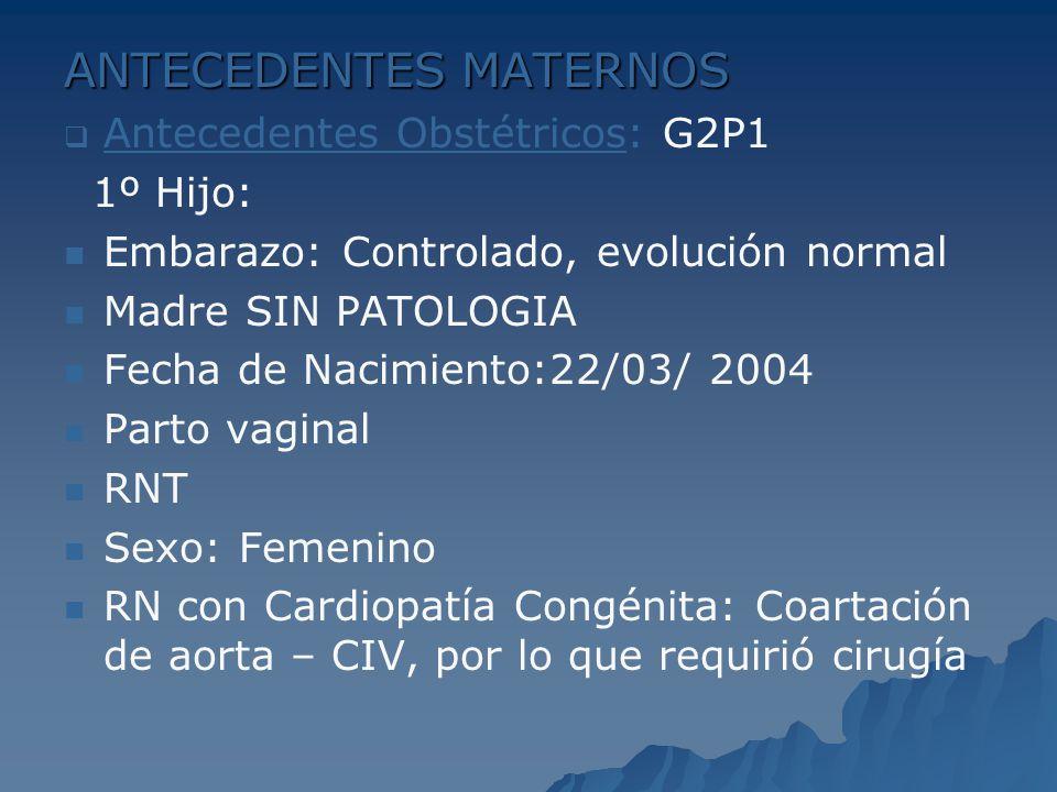 ANTECEDENTES MATERNOS Antecedentes Obstétricos: G2P1 1º Hijo: Embarazo: Controlado, evolución normal Madre SIN PATOLOGIA Fecha de Nacimiento:22/03/ 20
