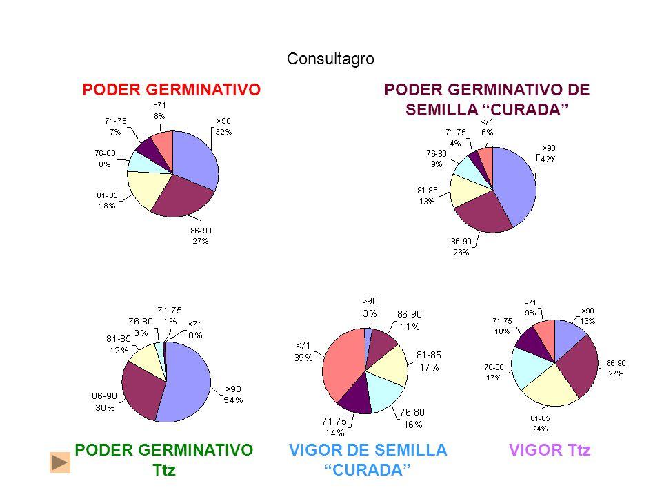 PODER GERMINATIVOPODER GERMINATIVO DE SEMILLA CURADA Consultagro PODER GERMINATIVO Ttz VIGOR TtzVIGOR DE SEMILLA CURADA