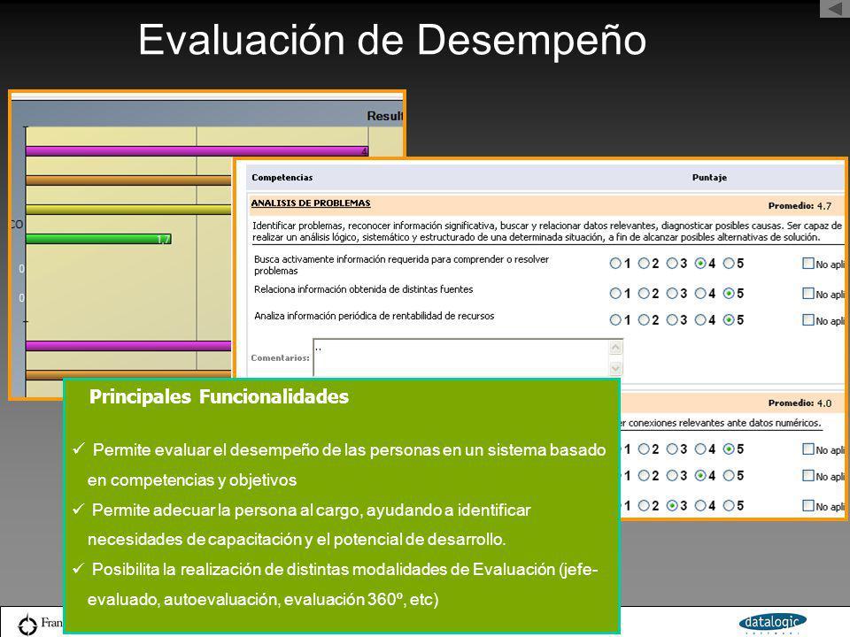 Evaluación de Desempeño Permite evaluar el desempeño de las personas en un sistema basado en competencias y objetivos Permite adecuar la persona al ca