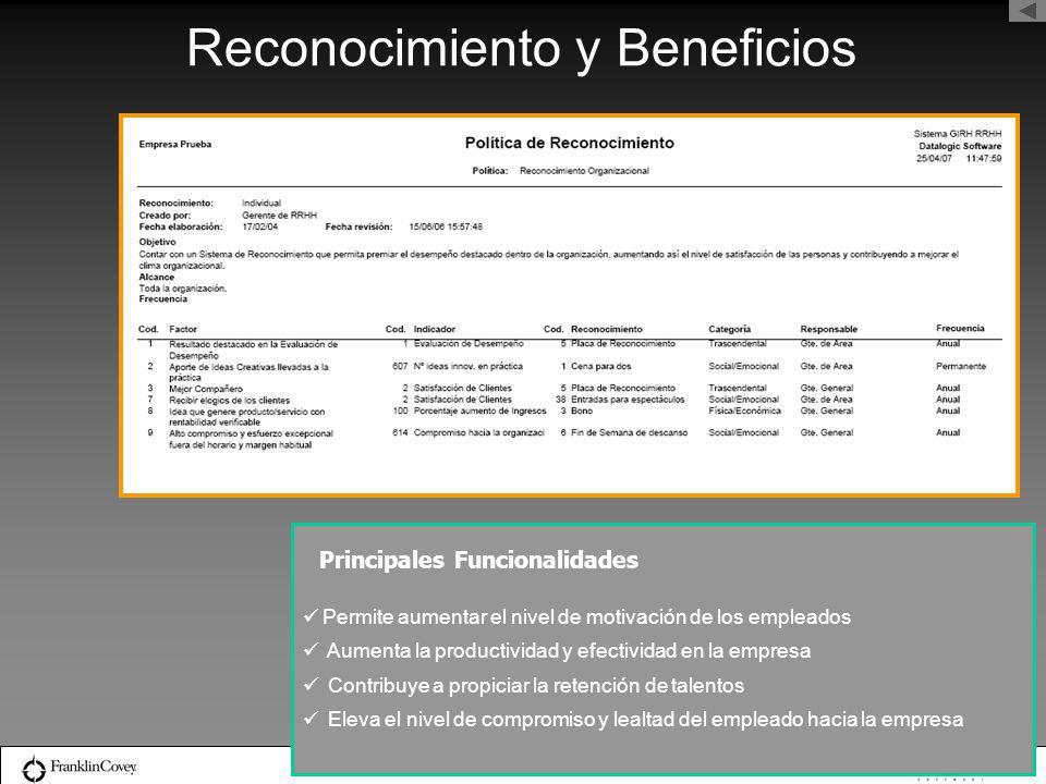 Reconocimiento y Beneficios Permite aumentar el nivel de motivación de los empleados Aumenta la productividad y efectividad en la empresa Contribuye a
