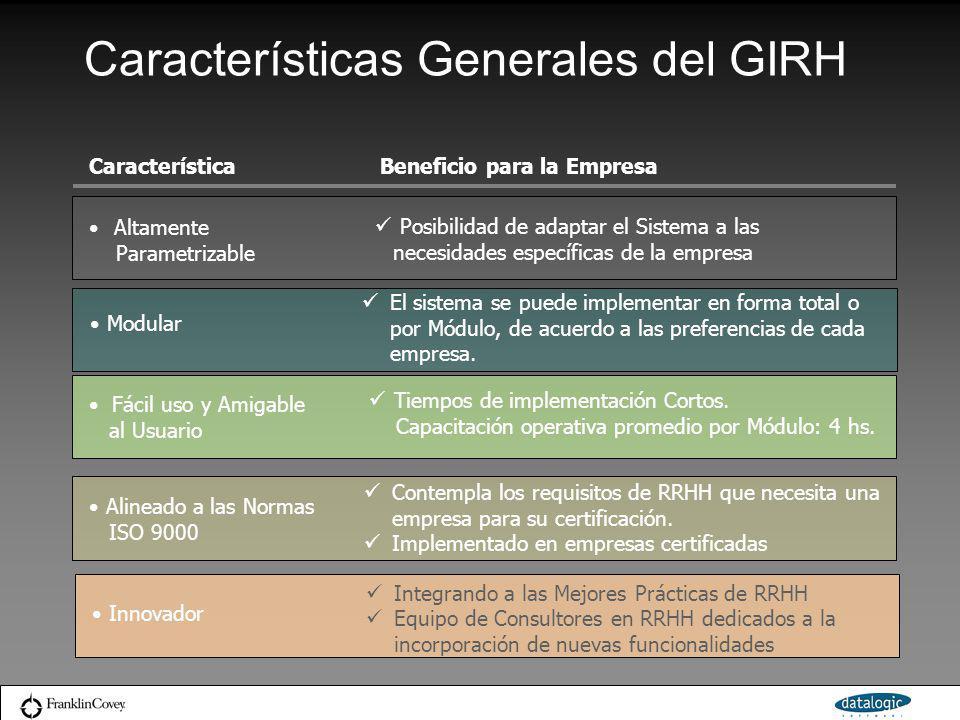 Características Generales del GIRH Altamente Parametrizable Posibilidad de adaptar el Sistema a las necesidades específicas de la empresa Fácil uso y