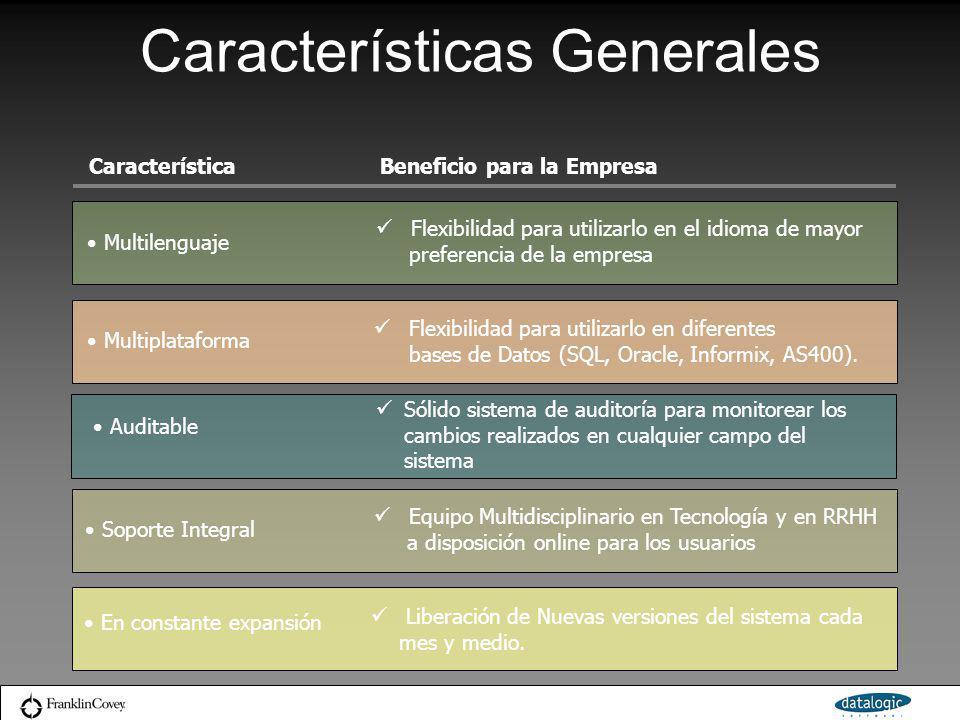 Características Generales CaracterísticaBeneficio para la Empresa Multilenguaje Flexibilidad para utilizarlo en el idioma de mayor preferencia de la e